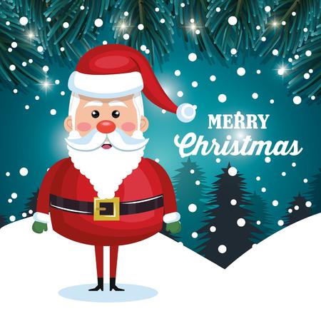 snowfall: santa character christmas snowfall and pine design vector illustration Illustration
