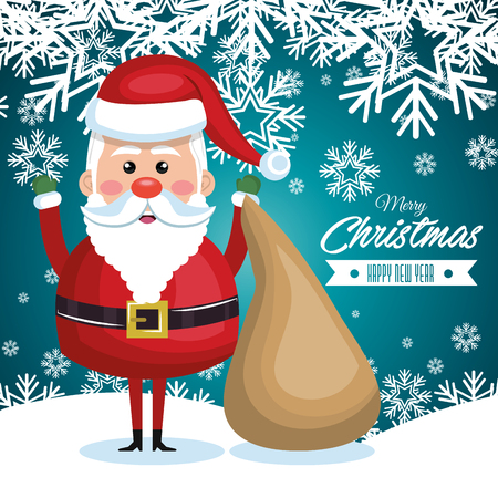 postcard: postcard with santa claus and bag gift snowflake design graphic vector illustration