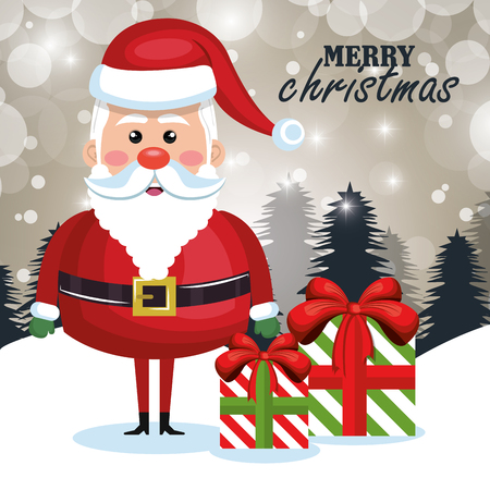 merry christmas santa claus cartoon greeting design vector illusration