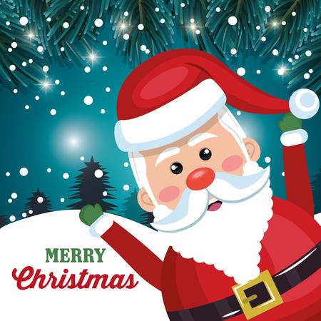 funny santa claus card merry christmas snowfall vector illustration