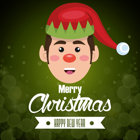 greeting card face elf green background vector illustration