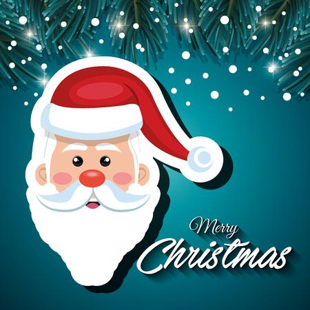 snowfall: greeting santa card snowfall vector illustration