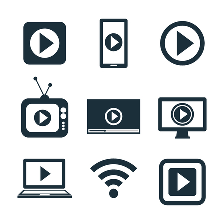 desing: collection icons live streaming desing graphic vector illustration