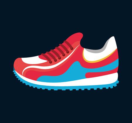sneaker sport running icon black background isolated vector illustration Illustration