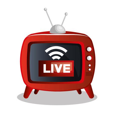 live stream tv: tv video play live streaming graphic vector illustration Illustration
