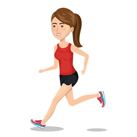 karakter vrouw met sport pictogram vectorillustratie