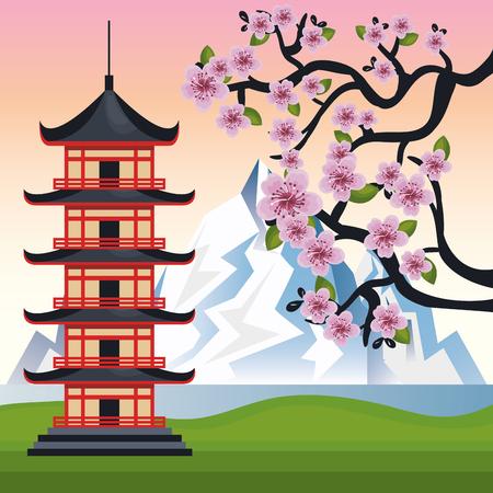 an island tradition: welcome japan mount fuji design vector illustration