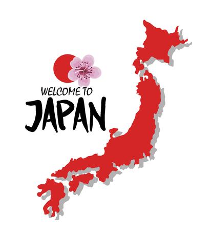 welcome japan mount fuji design vector illustration