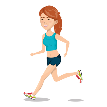 curly tail: character woman running sport icon vector illustration Illustration