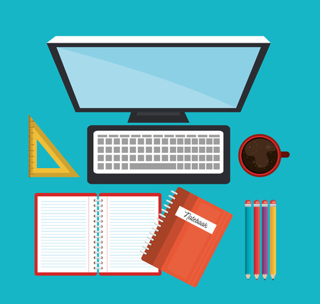 concept online education differents icons study graphic vector illustration