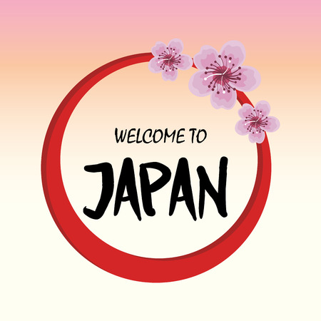 mount fuji: welcome japan mount fuji design vector illustration