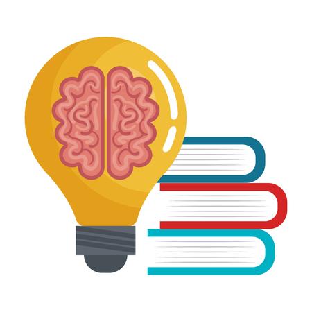 brain idea think book, education online graphic vecctor illustration Illustration