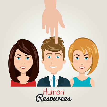 erp: hand icon human resources choose person vector illustration