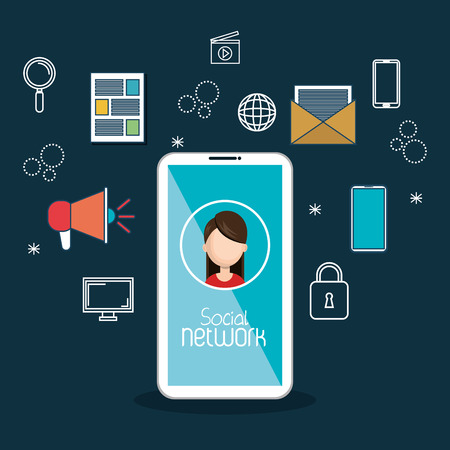 chat up: social media technology mobile blue background vector illustration