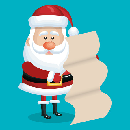card santa with list gift blue bakcground vector illustration