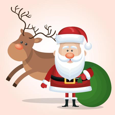 illustraion: santa claus card reindeer and bag gift green vector illustraion Illustration