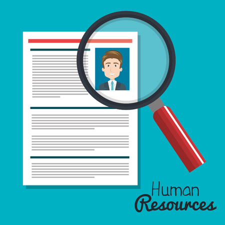 human resources search choose curriculum male vector illustration