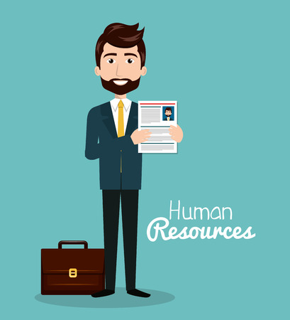 submission: man character with portfolio and curriculum human resources vector illustration