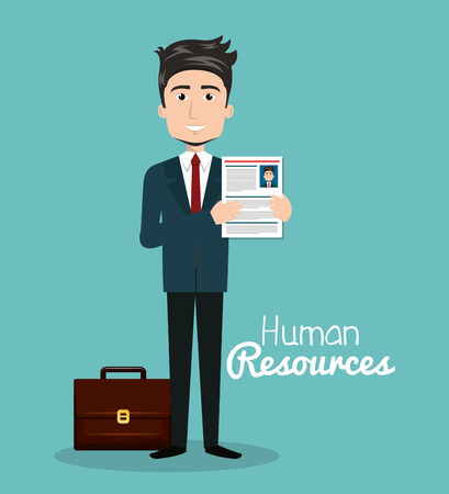 admittance: man character with portfolio and curriculum human resources vector illustration