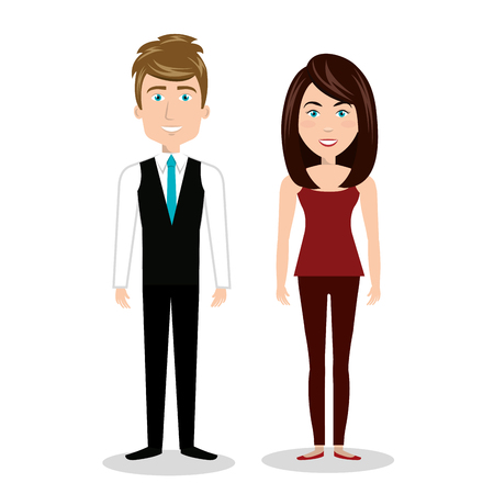 cartoon man and woman standing, human resources graphic vector illustration