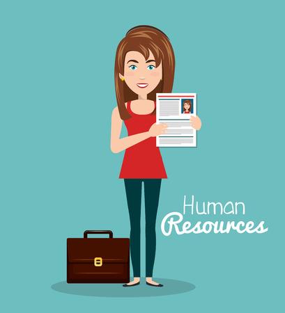 intern: girl portfolio cv human resources vector illustration Illustration
