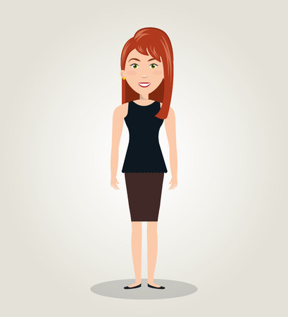 character female standing human resources icon vector illustration