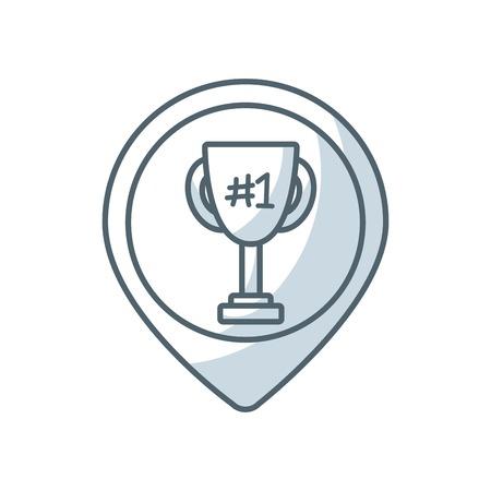winning location: trophy winner flat line icon vector illustration design