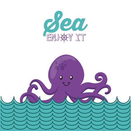 party cartoon: sea life conceptual poster vector illustration design