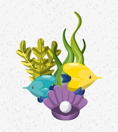 sea life conceptual poster vector illustration design
