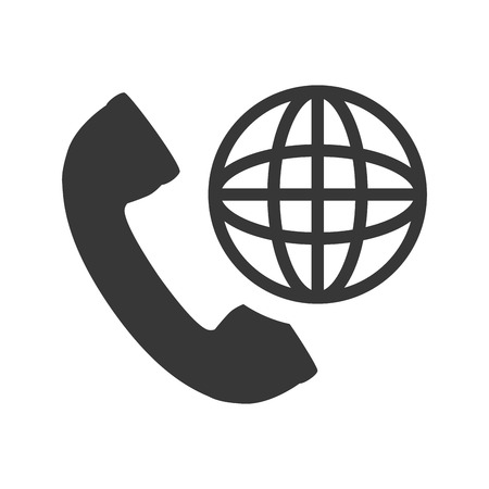 telephone handset with global sphere icon silhouette. vector illustration Illustration
