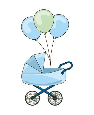 carro del bebé con la ilustración vectorial globos parte del diseño