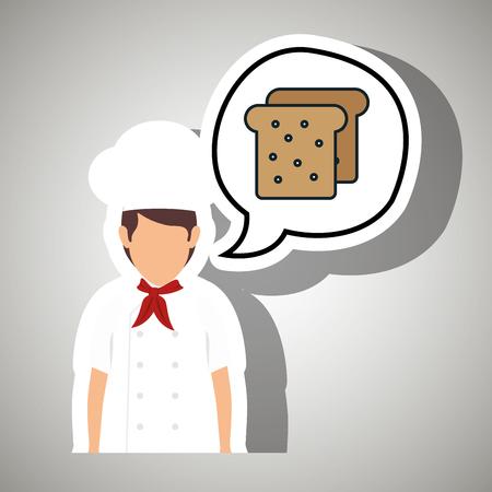 garlic bread: chef cook food restaurant vector illustration eps 10