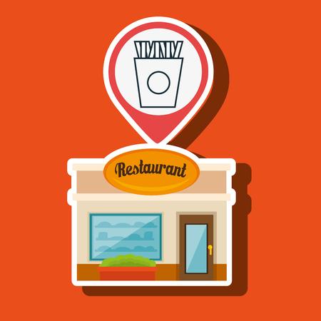 window bars: restaurant building food vector illustration eps 10
