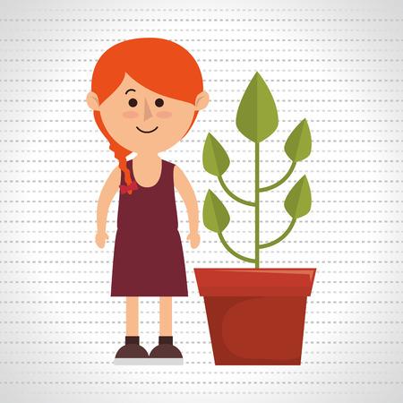 plant pot: character pot plant vector illustration eps 10