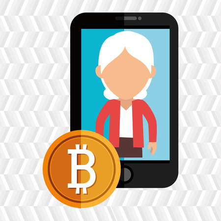 woman smartphone: woman smartphone bit coin vector illustration eps 10