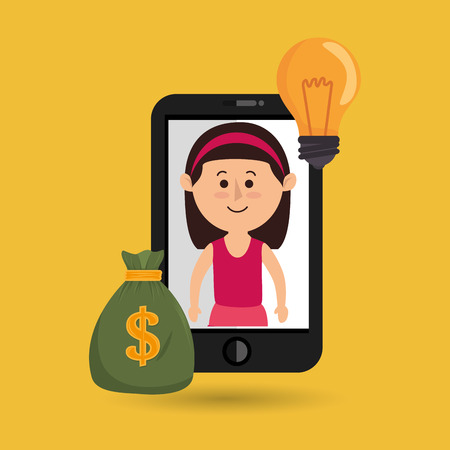 woman smartphone: woman smartphone bag money vector illustration eps 10