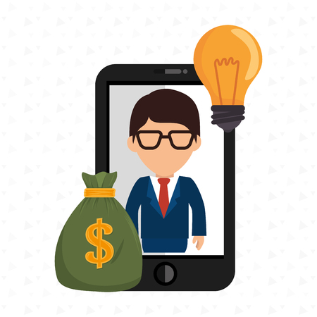 man smartphone bag money vector illustration eps 10