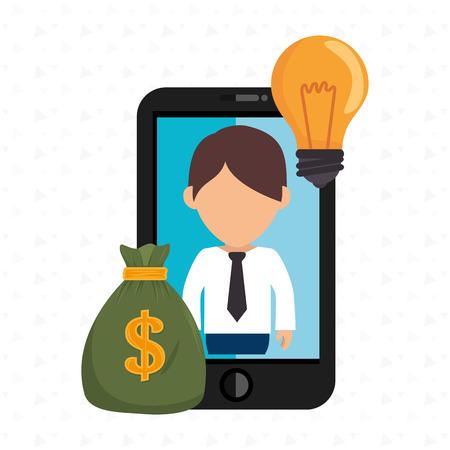 handphone: man smartphone bag money vector illustration eps 10