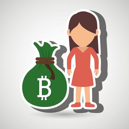 treasury: person woman bit coin web vector illustration eps 10