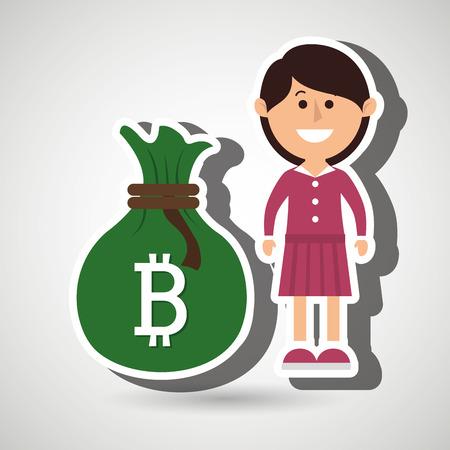 person woman bit coin web vector illustration eps 10