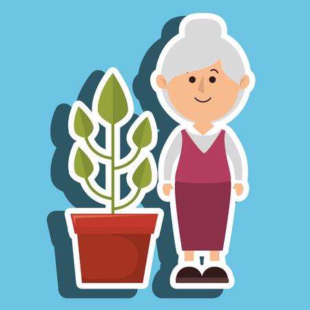 character pot plant vector illustration