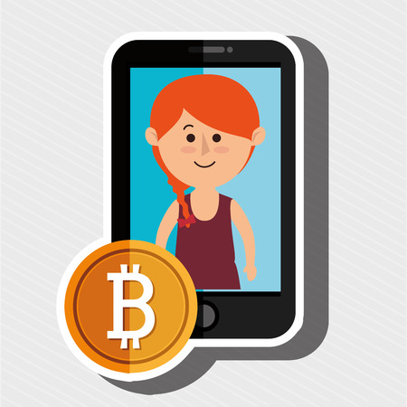 woman smartphone bit coin Illustration