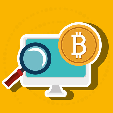 laptop search bit coin vector illustration