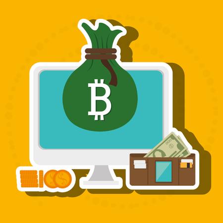 laptop search bit coin vector illustration