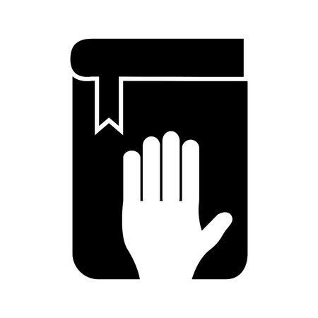 protection of the bible: human hand and bible in oath icon vector illustration design Illustration