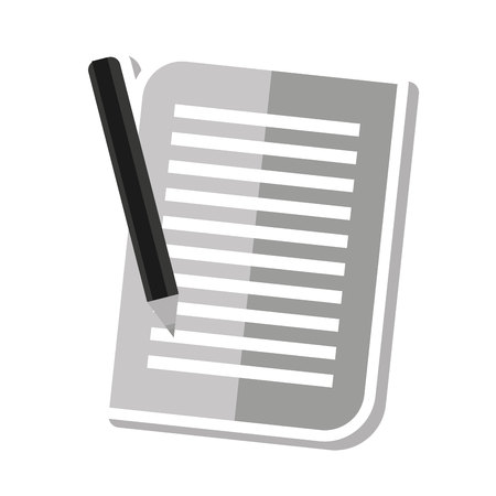 memo pad: paper document with pencil icon vector illustration design Illustration