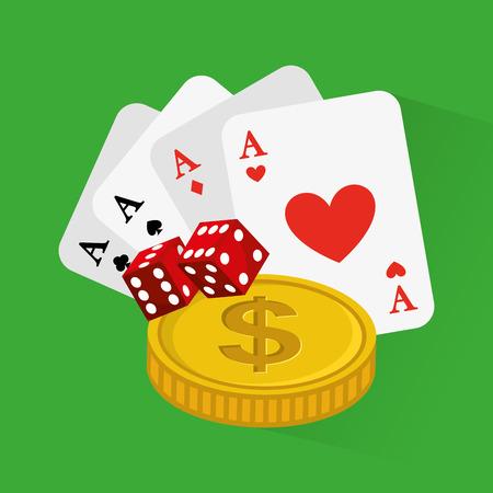 cartas de póquer juego de casino icono de la ilustración vectorial de diseño