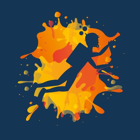 splattered: avatar athlete with splattered paint vector illustration design Illustration