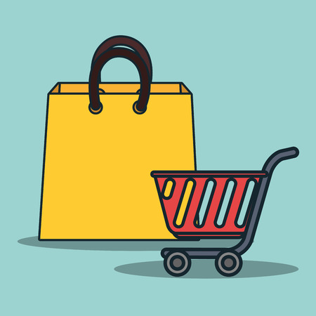 supermarket trolley: supermarket trolley and shopping bag. colorful design. vector illustration