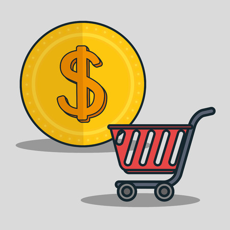 supermarket trolley: supermarket trolley and gold coin. shopping and money icon. colorful design vector illustration Illustration